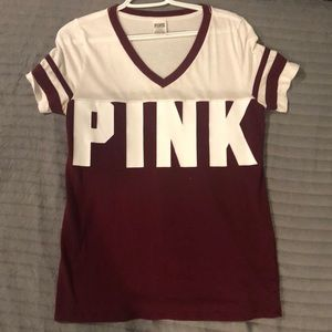 Pink, maroon and white shirt